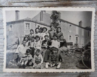 Vintage Antique old French real photography black & white  1940/1950  FamilY/people/country