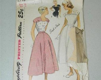 Vintage Simplicity Ladies Dress pattern 2718 Size 16 Bust 34 1950s 11591