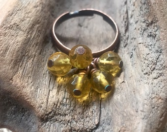 Faceted Yellow Citrine Gemstone and Copper Bauble Ring - Copper Ring, Citrine Ring, Yellow Gemstone Ring