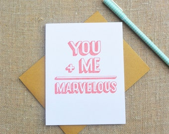 Letterpress Greeting Card - Love Card - Warm Thoughts - You + Me = Marvelous - WMV-138