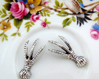 SILVER (2 Pieces) Avian Bird Claw Foot Talon Stampings - Jewelry Antique Silver Findings (FA-6033) #