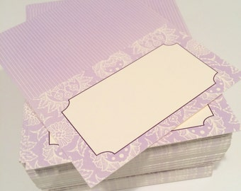 Purple Floral Folding Placecards set of 131