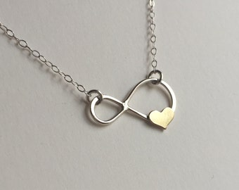 Infinity Necklace with Tiny Gold Heart Handmade Infinity Symbol Necklace Infinity Jewelry,Mothers Gift,Bridesmaids Necklace,Bridal Necklace