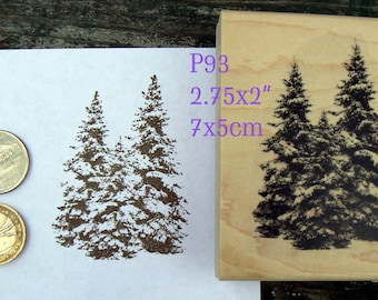 Christmas trees rubber stamp, Pine trees P93