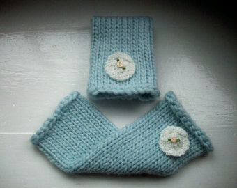 Leg warmers, super chunky, warm, pale blue, white flower, wool rich