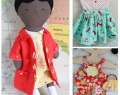 Ginger : Doll with dolls clothes sewing pattern PDF, doll dress, doll coat PDF