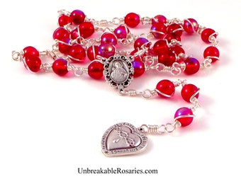 Most Precious Blood of Jesus Rosary Chaplet in Siam Red AB Czech Glass by Unbreakable Rosaries