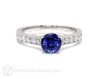 Blue Sapphire Engagement Ring Blue Sapphire Ring Solitaire with Conflict Free Diamonds 14K or 18K Gold