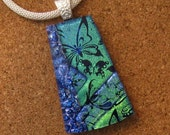 Dichroic Glass Pendant - Dichroic Jewelry - Dichroic Necklace - Fused Glass Pendant - Fused Glass Jewelry - Dichroic Butterfly Pendant