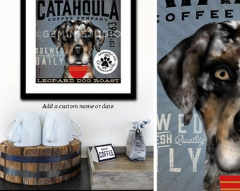Catahoula Leopard Dog Cur Coffee Company graphic art archival giclee print by Stephen Fowler