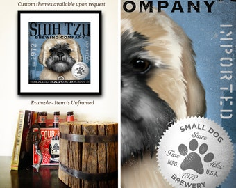 Shih Tzu dog beer brewing Company dog graphic illustration giclee archival signed artist's print by stephen fowler