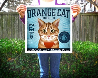 Orange Tabby Cat Coffee Company graphic artwork giclee archival signed artist's print by Stephen Fowler