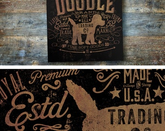 doodle labradoodle goldendoodle dog Trading Company dog graphic illustration on gallery wrapped canvas by Stephe Fowler