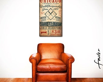 Vintage style Chicago Baseball Ticket graphic artwork on canvas by stephen fowler CUSTOMIZE it