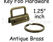 10 Key Fob Hardware with Key Rings Sets - 1.25 Inch (32 mm) Antique Brass - Plus Instructions - SEE COUPON