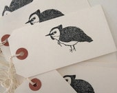 WINTER SALE Pack of 5 Hooded Warbler hand stamped bird gift tag, luggage tag, label