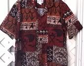 Winnie Fashion vintage Hawaiian Shirt, 80s or 90s Barkcloth Polynesian Motifs, Tappa Cloth Designs, all cotton sz Large