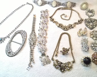 Rhinestone Repair Lot , single earrings, close to perfect necklaces, fix or use stones, or assemblage art