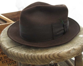 Brown wool Fedora vintage Hat 60s wool fall hat vintage Knox hat S M