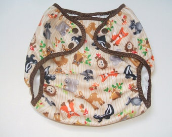 Diaper Cover, Medium Cloth Diaper Cover, Nappy Wrap with Snaps, Woodsy Animal