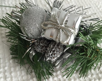 Christmas Holiday Floral Picks with Sparkling Silver Elements for Crafting, Floral Creations and More - Set of 6 High Quality Pieces
