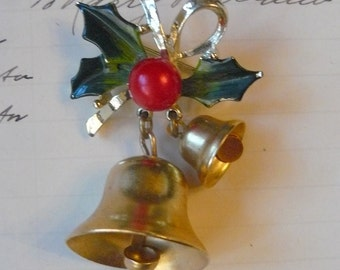 Vintage Christmas Ringing Two Bell Brooch