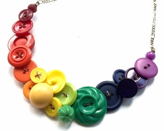 Rainbow Spectrum Button Statement Necklace - Big Bright Colorful Bib Necklace
