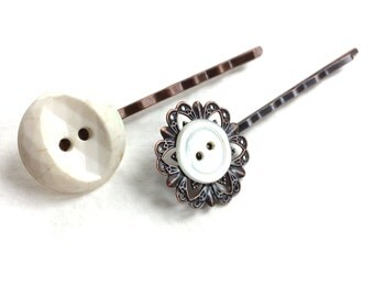 White Button Hairpins made from vintage buttons