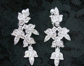 Dangle Rhinestone Earrings, Clip-on, Sarah Coventry, Clear Stones, Silvertone Setting, Vintage 1970s, Wedding, Christmas Costume Jewelry