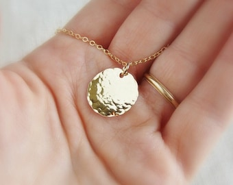 Gold disc necklace hammered gold necklace, bridesmaid necklace, quality 14k gold filled layered necklace, minimalist dainty necklace