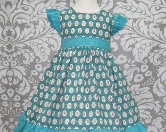 Princess and Cat Dress, Girl Aqua Dress, Flutter Sleeve Girl Dress, Custom Boutique, Little Girl Dress, Toddler Dress, Vintage Style Dress
