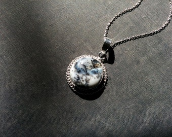 Dendritic agate necklace - Winter Forest - natural black and white stone pendant wrapped in sterling silver. Boho jewelry.