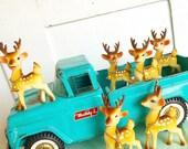Oh Deer... Vintage Rubber Japan Deer Reindeer Fawn Bucks Bambi Figurines Christmas Village Instant Collection of 6