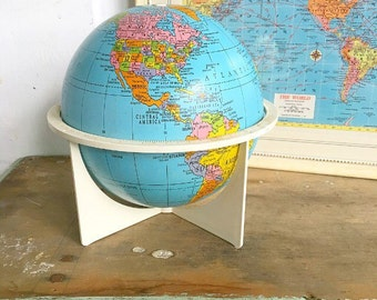 As The World Turns... Vintage Desk Top Mid Century Modern Tin Metal Replogle World Globe
