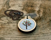 hand embroidery wearable art necklace - Little Tree - grey linen