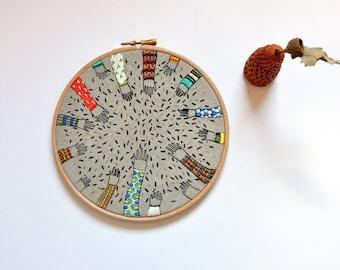 original mixed media hoop art screenprint  embroidery - Sowing VIII