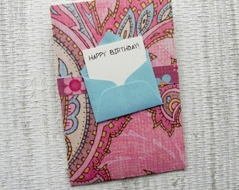 Pink and Turquoise Gift Card Holder - Happy Birthday - Happy Birthday Gift Card Envelope