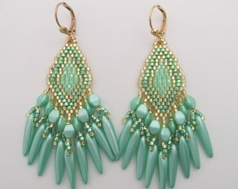 Seed Bead Earrings - Green