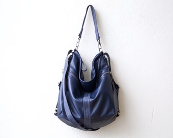 new color - Classic Navy - extra soft leather - HOBO PACK in Italian lambskin - leather backpack - leather crossbody bag