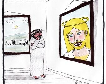 Jesus Ponders his Portrait CARTOON