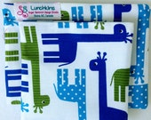 Snack Bags GIRAFFE Re-Usable Washable Velcro or Zipper  Closure