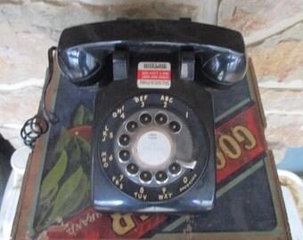 Vintage Black ITT Rotary Dial Telephone - 1970s - Classic Black Desk Phone - Free Shipping