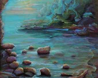 "12""x12"" original acrylic on canvas, ""The cove"""