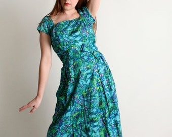ON SALE Vintage 1960s Floral Dress - Sequined Bodice Watercolor Teal Green Cotton Dress - Medium