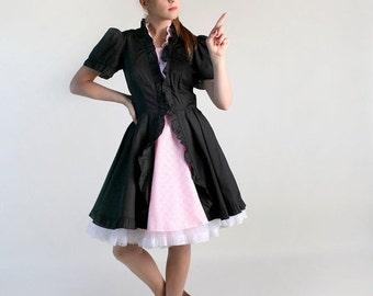 ON SALE Vintage French Maid Lolita Patio Dress - Black and Pink Square Dance Dress - Medium