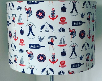Sailor Cotton Fabric  Bespoke Roll Top 30cm Drum Lampshade. Lamp Fixture. UK/EU Fitting. Rum, Sailors & Pirates. High Seas. Nautical.