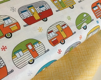 Vintage Camper fabric, Metallic fabric, Silver fabric, On the Road Ivory fabric bundle, Robert Kaufman, Fabric Bundle of 2, Choose The Cuts