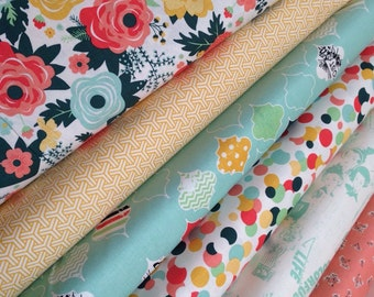 Fancy and Fabulous Fabric bundle of 6, Cotton Fabric by the Yard, Riley Blake, Floral Fabric, Retro Fabric, Quilting fabric, Choose the Cut