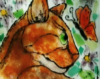 Golden brown abyssinian cat with orange butterfly fused glass decorative dish square plate
