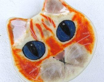 Orange tabby cat face fused glass shallow trinket dish